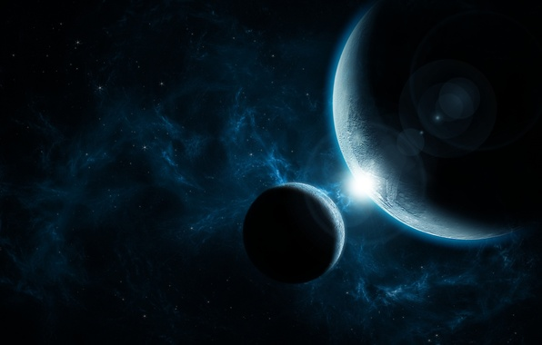 Picture light, Star, blue, planet, nice, Sci FI