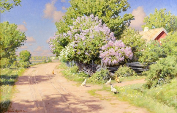 Picture road, landscape, flowers, house, the fence, shadow, picture, roof, village, the bushes, lilac, the fence, …