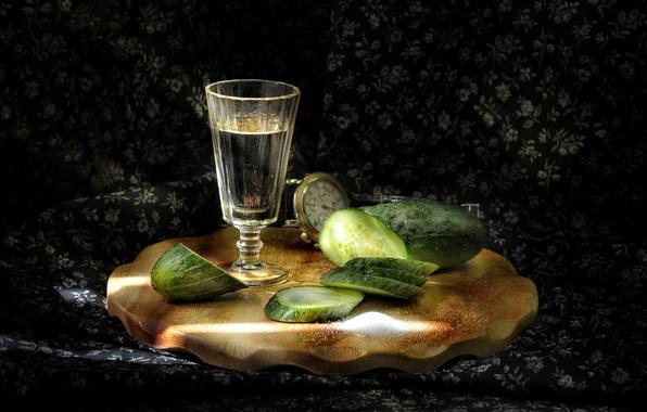 Picture holiday, cucumber, stack, vodka, salt, appetizer
