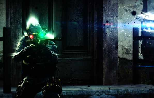 Picture machine, particles, darkness, bright light, the darkness, mask, machine, light, sniper, waiting, rifle, BMP, gloomy, …