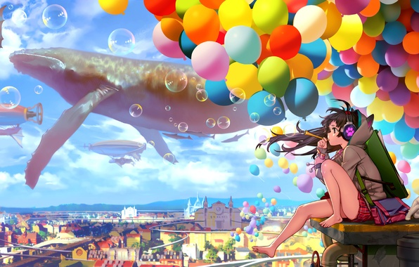 Picture the sky, cat, girl, clouds, balls, the city, bubbles, home, anime, headphones, art, nothing, catteeth