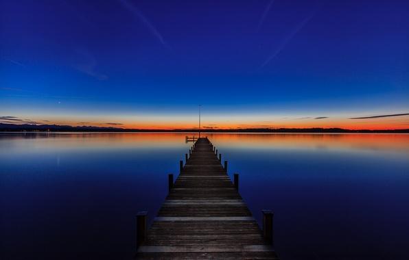 Picture sunset, Germany, pier, Bayern, Germany, Bavaria, lake Starnberger see, Starnberger See, Lake Starnberg