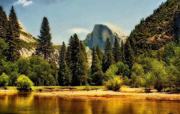 Picture forest, the sky, clouds, trees, mountains, rock, river, Yosemite, National Park, Sierra Nevada, merced river