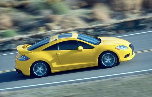 Picture Auto, Yellow, Mitsubishi, eclipse, Side view, In motion