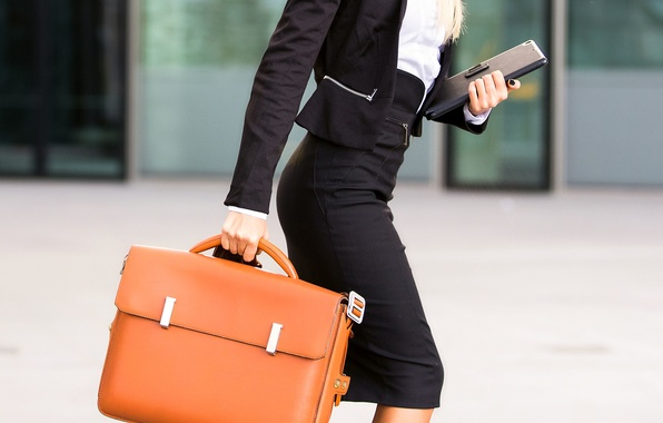 Picture fashion, leather briefcase, elegant clothes