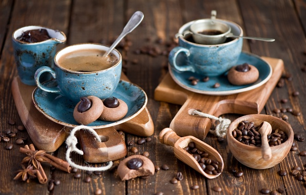 Picture blue, Board, coffee, chocolate, grain, kettle, cookies, Cup, dishes, cakes, set, spices, Anna Verdina