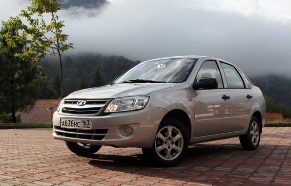 Picture fog, mountain, sedan, the front, lada, Lada, grant, granta