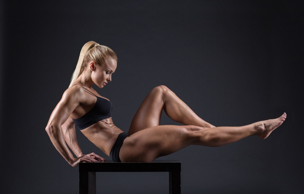 Picture muscles, blonde, pose, female, fitness, bodybuilder, toned body