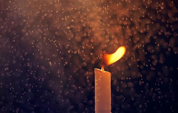 Picture drops, macro, rain, fire, candle
