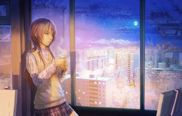 Picture winter, girl, snow, night, the city, tea, the moon, figure, window, art, mug, easel, arsenixc