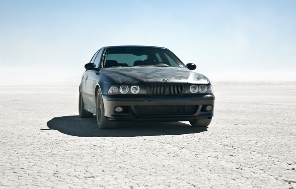 Picture the sun, desert, BMW, BMW, car, black car, m5 e39, cool