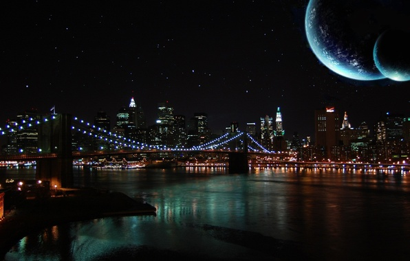Picture the sky, night, bridge, river, the moon