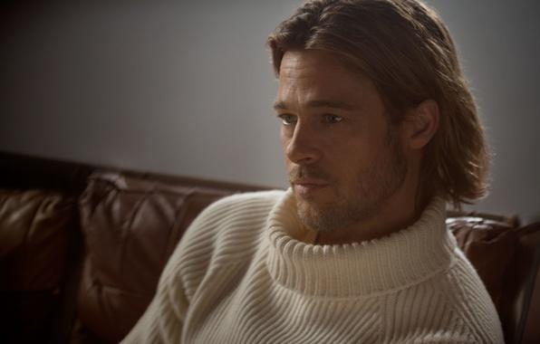 Picture sofa, actor, Brad Pitt, Brad Pitt, sweater, blonde