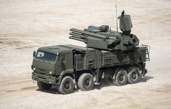 Picture Russian, complex, self-propelled, Pantsir-S1, missile and gun, anti-aircraft, (Zrpk), land-based
