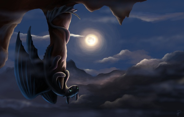 Picture night, rock, the moon, dragon, art, Toothless, how to train your dragon, the night fury, …