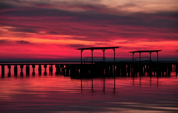 Picture the sky, sunset, red, clouds, lake, The evening, pierce, twilight