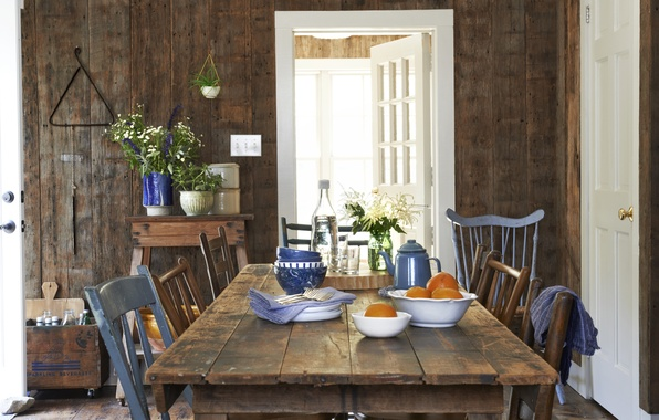Wallpaper interior dining room country house farm style for Dining room 640x1136