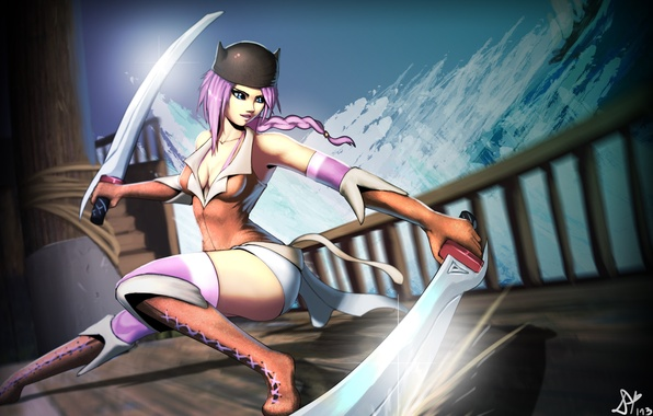 Picture look, girl, weapons, fiction, hair, ship, katana, art, pigtail, vella