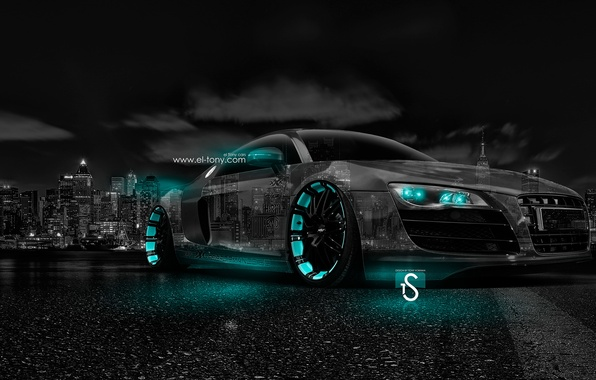 Picture Audi, Night, Audi, The city, Neon, Wallpaper, City, Photoshop, Photoshop, Style, Night, Neon, Tuning, 2014, …