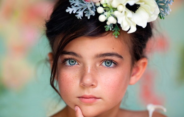 Picture portrait, girl, freckles, child photography, Windows Into The Soul