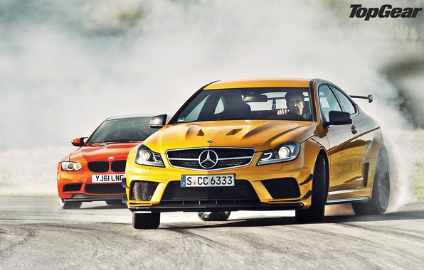 Picture orange, yellow, smoke, BMW, skid, BMW, supercar, drift, Mercedes, AMG, top gear, the front, and, …