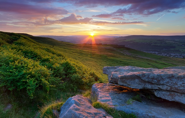 Picture the sky, the sun, clouds, sunset, stones, field, England, valley, the bushes, Yorkshire