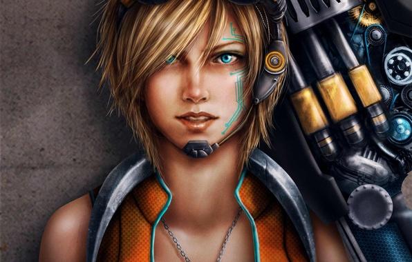 Picture girl, weapons, pattern, tattoo, art, glasses, pendant, Trixia Quinzon