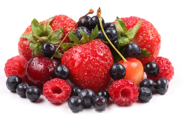 Picture berries, raspberry, blueberries, strawberry, cherry