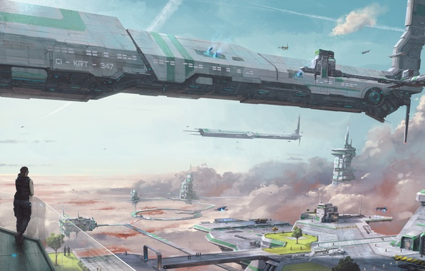 Picture the sky, girl, space, clouds, ship, station, space, girl, sky, clouds, spaceship, station, game wallpapers, …