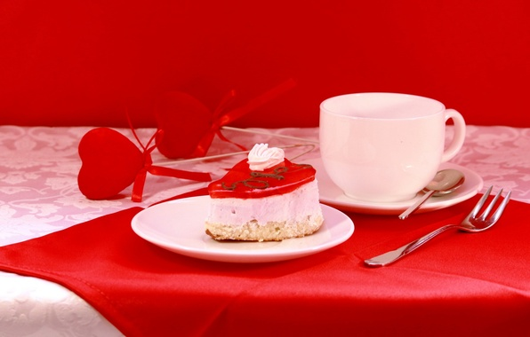 Picture mood, holiday, Breakfast, dishes, still life, Valentine, Valentine's day, composition, cake, accessories
