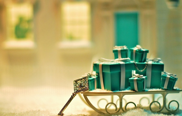 Picture snow, background, holiday, gift, blue, Wallpaper, new year, Christmas, key, gifts, wallpaper, new year, widescreen, ...