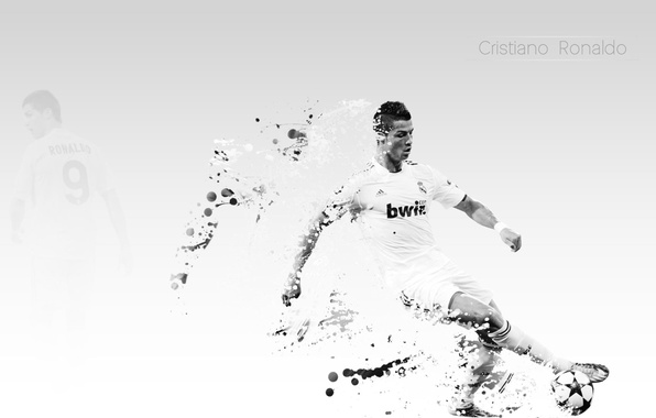 Picture Wallpaper, football, star, the ball, white background, light background, art, Ronaldo, real madrid, football, ronaldo, …