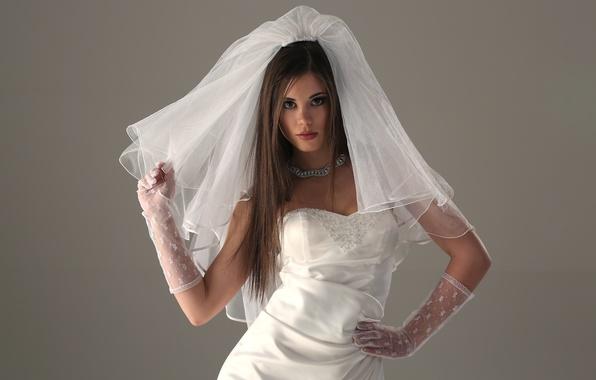 Picture face, hair, dress, gloves, the bride, veil, Little Caprice, Little Caprice