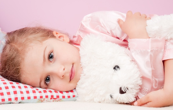 Picture look, toy, girl, pillow, pajamas, child, gray-eyed, Teddy bear, blonde