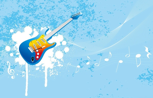 Picture notes, music, blue, guitar, vector