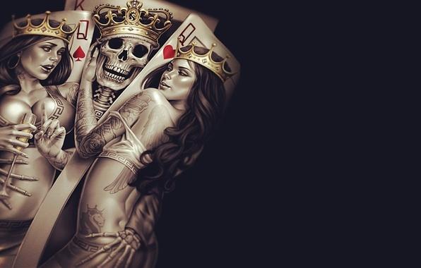 Wallpaper Sake Queen Cup Poker Bones Tattoos Crown King Seduction Skeleton Images For Desktop Section