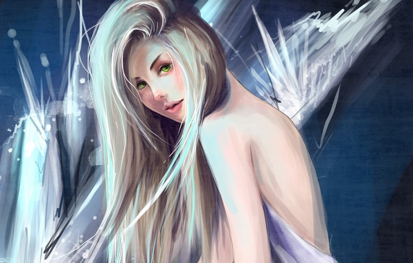 Picture look, girl, face, background, hair, back, art, green eyes