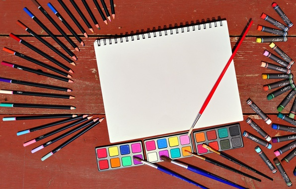 Picture color, sheet, pencils, brush, drawing, crayons, paint