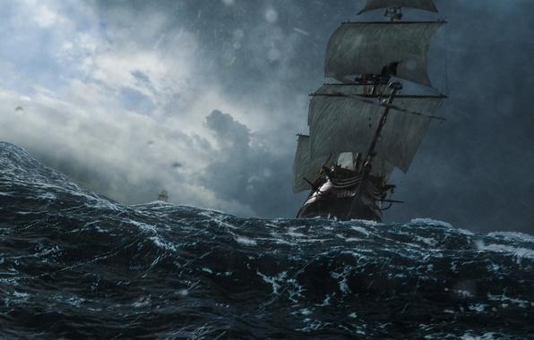 Picture sea, wave, storm, ships, Black sails