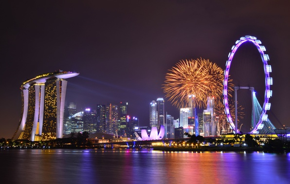 Picture the sky, clouds, night, lights, lights, reflection, holiday, skyscrapers, backlight, Bay, Singapore, fireworks, architecture, megapolis, ...