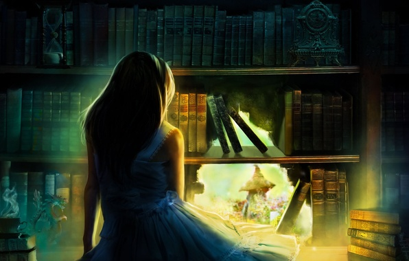 Picture girl, light, hair, back, watch, books, hole, art, figurine, shoulders, hourglass, blue dress, bookcase