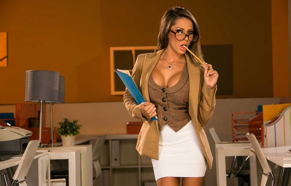 Picture look, model, lamp, interior, glasses, office, pencil, brown hair, jacket, skirt, Madison Ivy, folder