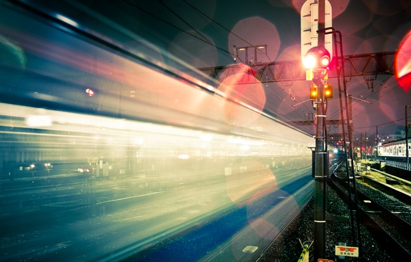 Picture light, night, the city, glare, Japan, excerpt, railroad