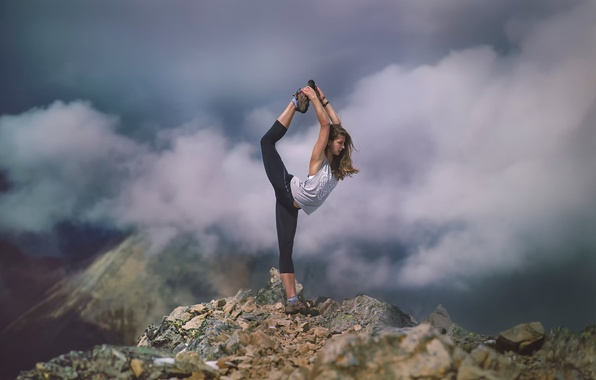 Picture girl, clouds, mountains, athlete, Stretch, stretching