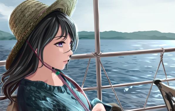 Picture girl, river, ship, hat, art, railings, shamakho