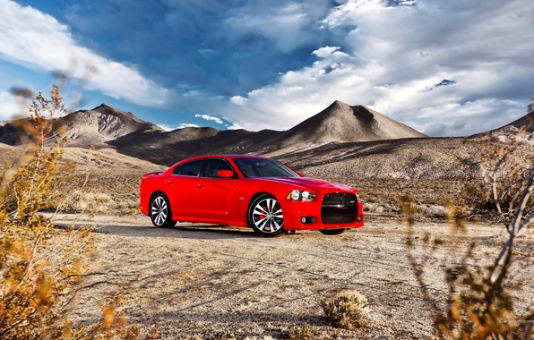 Picture The sky, Red, Clouds, Auto, Mountains, Machine, Sedan, Dodge, charger