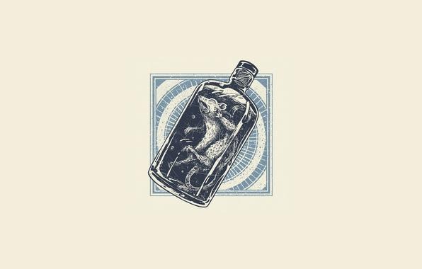 Photo wallpaper bottle, minimalism, capsule, rat, dead, bottle