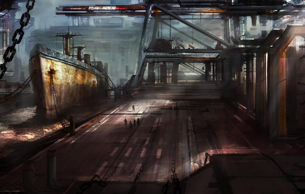 Picture people, ship, art, port, chain, gloomy
