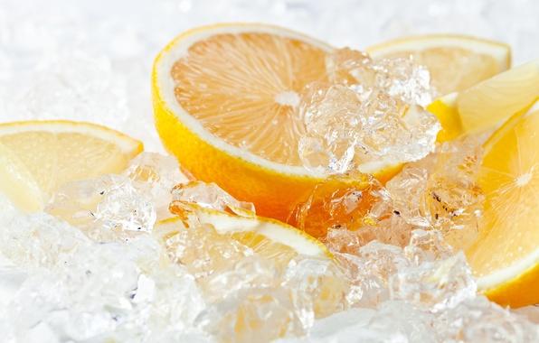 Picture ice, lemon, orange, citrus, lemon, ice, orange, citrus