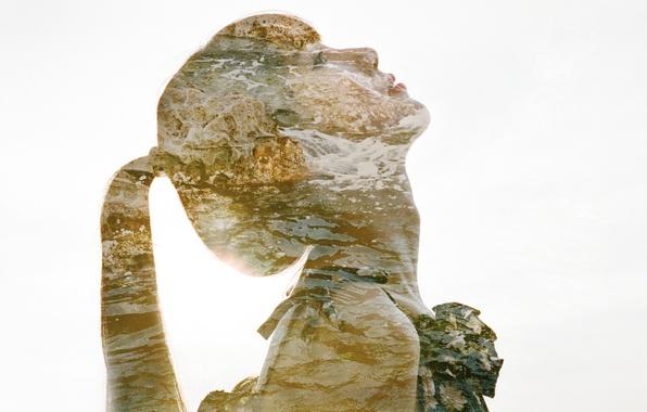 Photo wallpaper rock, beach, girl